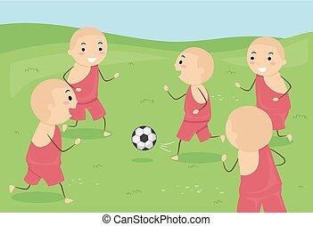 stickman, crianças, meninos, monge, futebol, ilustração