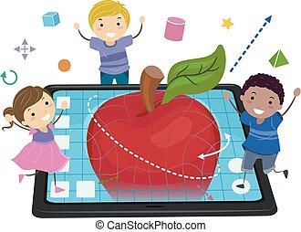 stickman, crianças, modelar, maçã, ilustração