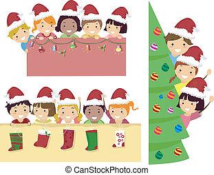 stickman, crianças, natal, bandeira