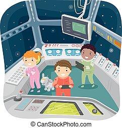stickman, crianças, nave espacial, controle lugar