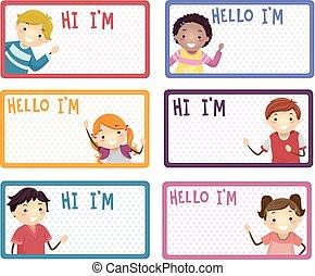 stickman, crianças, nome, etiquetas, ilustração