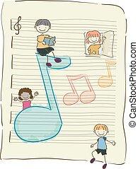 stickman, crianças, notas música, ilustração