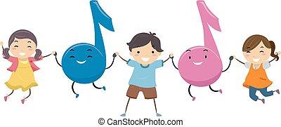 stickman, crianças, notas música, salto, ilustração