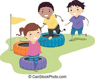 stickman, crianças, obstáculo, pneu, raça, ilustração