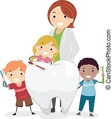 stickman, crianças, odontólogo, dentes