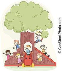 stickman, crianças, pátio recreio, árvore, ilustração