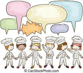 stickman, crianças, pequenos chefes cozinha, falando, ilustração