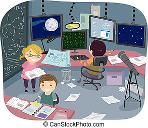 stickman, crianças, pesquisa, sala