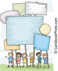 stickman, crianças, plackarads