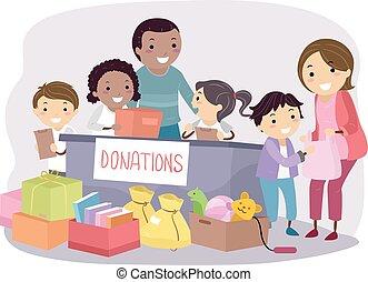 stickman, crianças, professores, doações