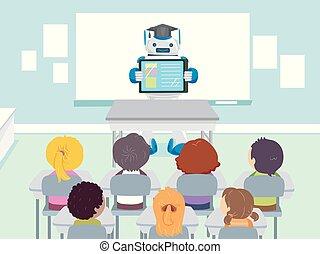 stickman, crianças, robô, professor, classe, ilustração