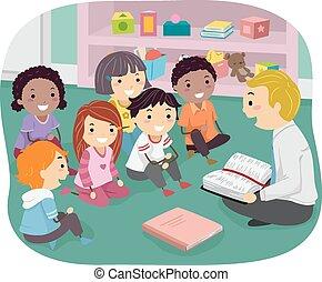 stickman, crianças, sunday educam