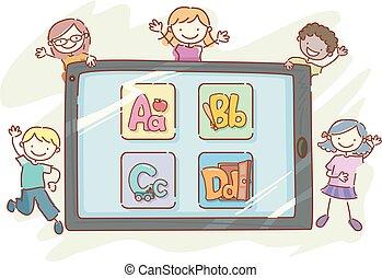 stickman, crianças, tabuleta, alfabeto, app, ilustração