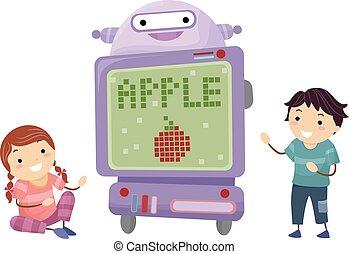 stickman, crianças, tecnologia, robô, professor