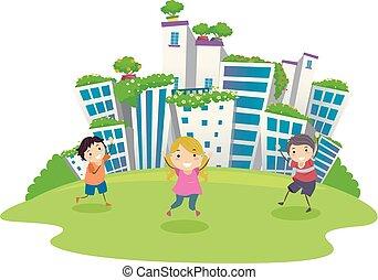 stickman, crianças, verde, cidade, ilustração