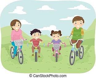 stickman, család, bicikli