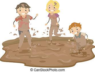 stickman, család, játék, alatt, a, sár
