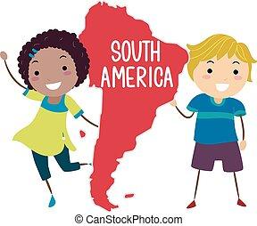 stickman, dél-amerika, gyerekek, ábra, szárazföld