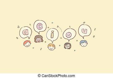 stickman, děti, hlavy, samohláska, ilustrace