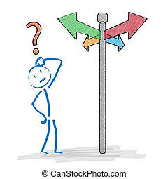 Stickman on the crossroads on the white background.