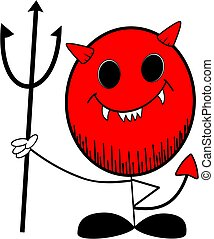 stickman devil - Stick man smiling devil vector cartoon