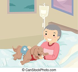 stickman, dienst, ziekenhuis, dog, hogere mens