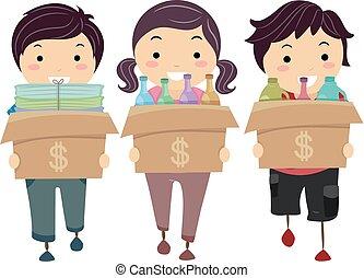 stickman, dinero, niños, reciclar, ilustración, materiales