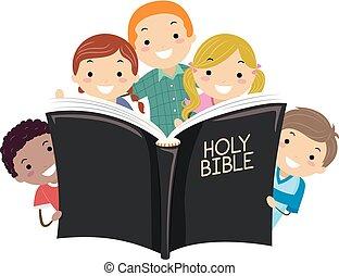 stickman, dzieciaki, święta biblia, ilustracja