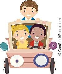 stickman, dzieciaki, dżonka, sztuka, wóz, ilustracja