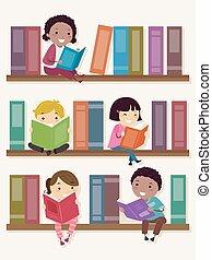 stickman, dzieciaki, książka zaopatruje w półki, czytanie, ilustracja