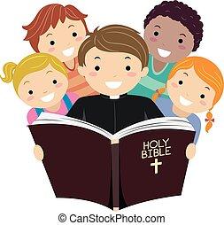 stickman, dzieciaki, ksiądz, biblia, ilustracja