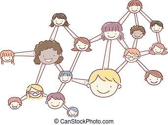 stickman, dzieciaki, molekuła, ilustracja