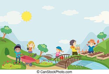 stickman, dzieciaki, ogrodnictwo, ilustracja