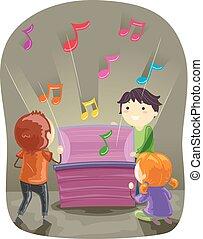 stickman, dzieciaki, otwarty, muzyka boks, ilustracja