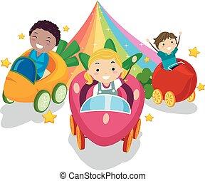 stickman, dzieciaki, roślina, ilustracja, tęcza, jazda