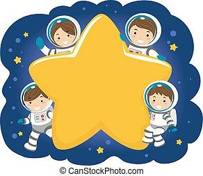 stickman, dzieciaki, rodzina, astronauta, gwiazda, ilustracja