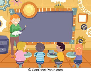 stickman, dzieciaki, steampunk, deska, ilustracja