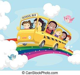 stickman, dzieciaki, szkoła autobus, tęcza
