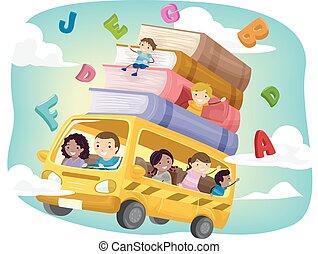 stickman, dzieciaki, szkoła autobus