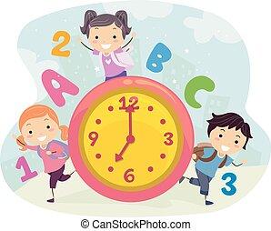 stickman, dzieciaki, szkoła, czas