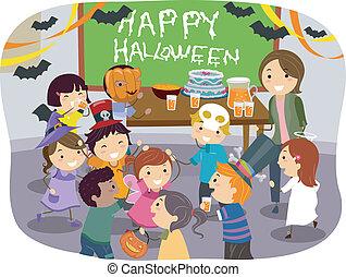 stickman, dzieciaki, szkoła, halloween partia