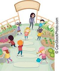 stickman, dzieciaki, szkoła, ogród, ilustracja