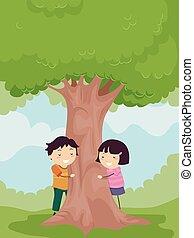 stickman, dzieciaki, uścisk, drzewo, środowisko, świadomość