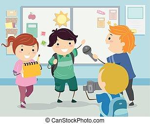 stickman, dzieciaki, wywiad, szkoła, ilustracja