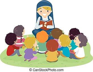 stickman, dzieciaki, zakonnica, biblia, na wolnym powietrzu, ilustracja