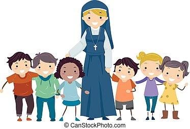 stickman, dzieciaki, zakonnica, ilustracja