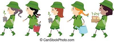 stickman, esploratore ragazza, albero piantando