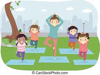 stickman, esterno, yoga, bambini