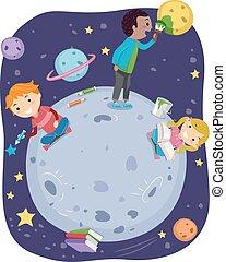 stickman, explorar, niños, espacio exterior