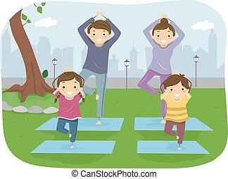 stickman, extérieur, yoga, famille